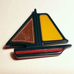 NOS Plex & Leather Sailboat Brooch2005 Runway